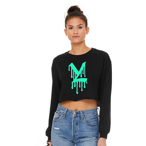 YL Mint Drip Long Sleeve Crop Top