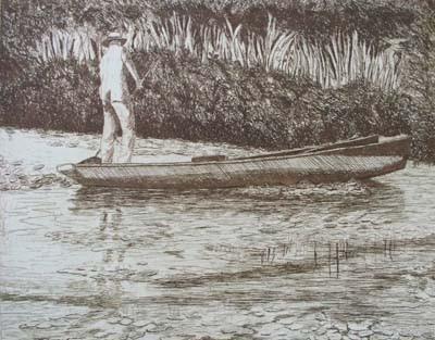 Pond in Monet's Garden, France - Etching