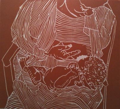Nursing Mother - Linocut