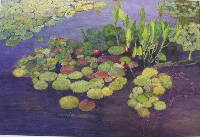 Lilly pond, East Branch, New York - Watercolor