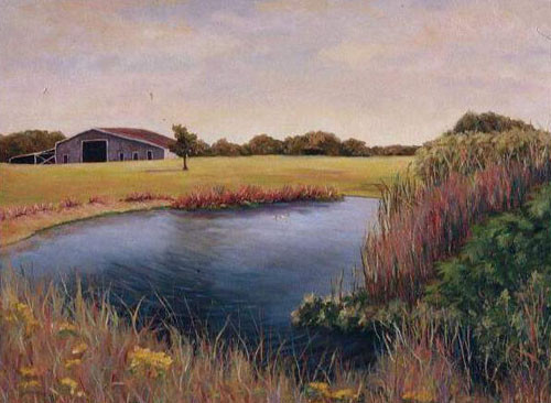 Squam Swamp view with Barn, Nantucket - Oil