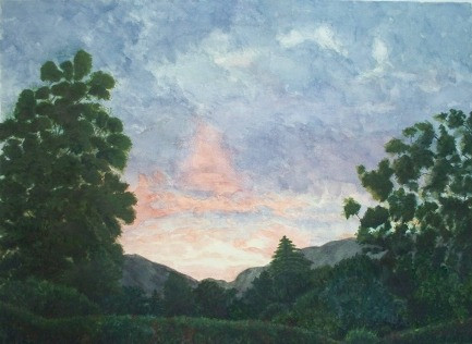 Twilight in Aquin, Haiti - Watercolor