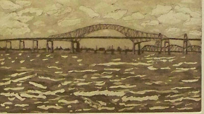 Newark Bay Bridge - Etching & Aquatint