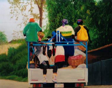The Commute, Route de Petionville, Haiti - Pastel