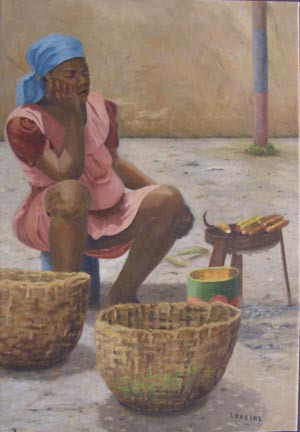 Vendeuse de mais, Haiti - Oil
