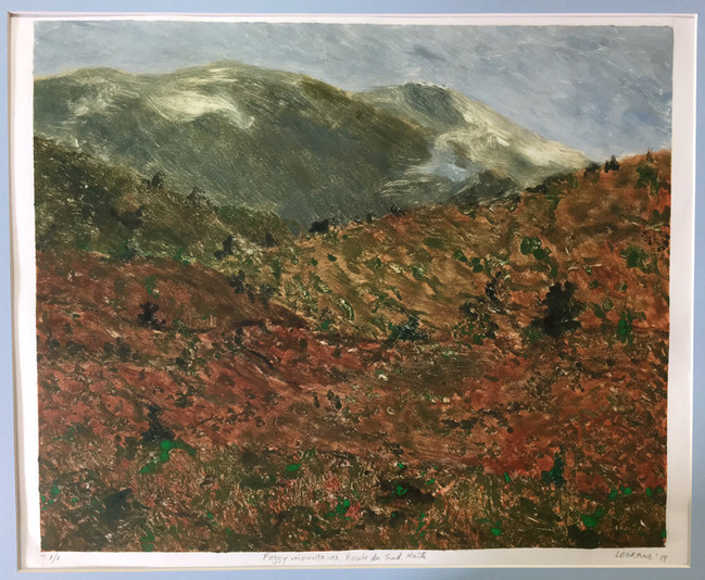 Foggy Mountains, Route du Sud, Haiti - Monotype