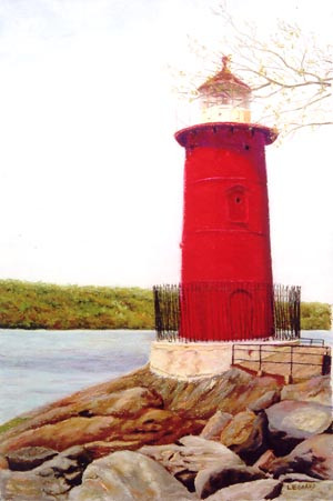 Little Red Lighthouse, Manhattan - Pastel