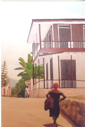 Une rue de Jacmel, Haiti - Oil