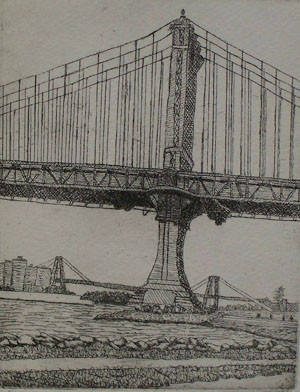 Manhattan Bridge - Etching