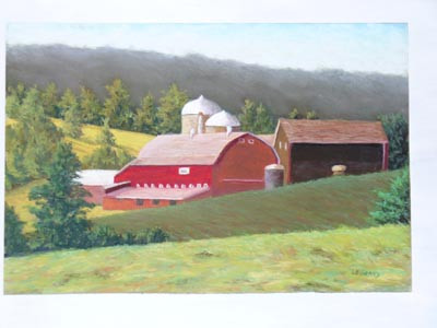 Farm in Bovina, New York - Pastel