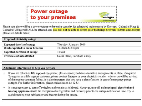 Energex Power Outage - 3 January 2019 - 10:00am to 3:00pm