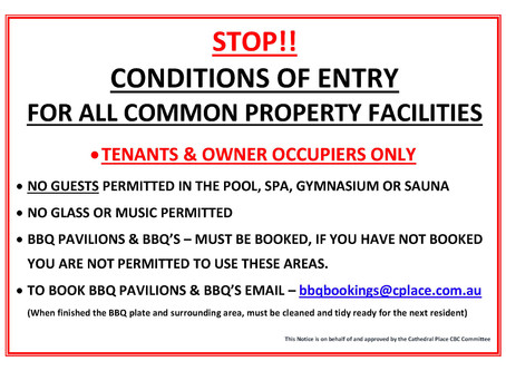 Pool, Spa, Gym & Sauna - Conditions of Entry