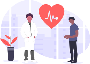 illustration of a doctor and his patient