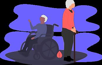 illustration of two elderly people