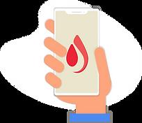 Illustration of hand holding onto phone