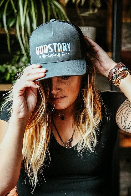 OddStory Trucker Hat in Dark Gray on Black