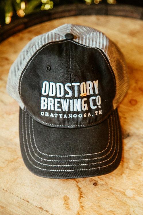Oddstory Unstructured Trucker Hat in Black/Grey