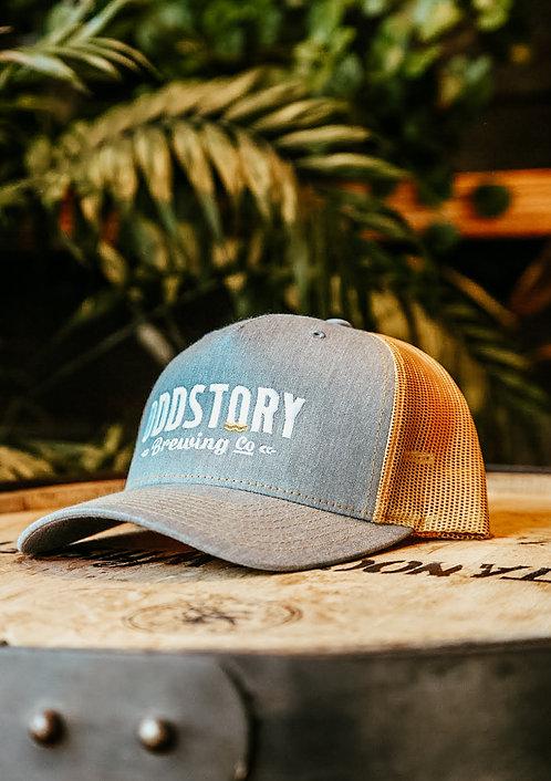 OddStory Trucker Hat in Gray on Gold