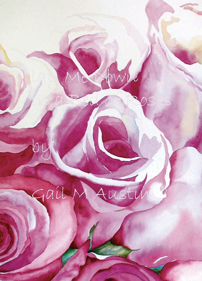 original art, pink roses, wall decor, Gail M Austin Art, watercolor flowers, wall decor, original art, large format art, rose art, roses art, flower watercolor, pink roses,  lay me down in a bed of roses, artworks, pink wall decor, big art, wall art
