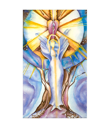 Goddess of Wisdom -original watercolor painting by Gail M Austin