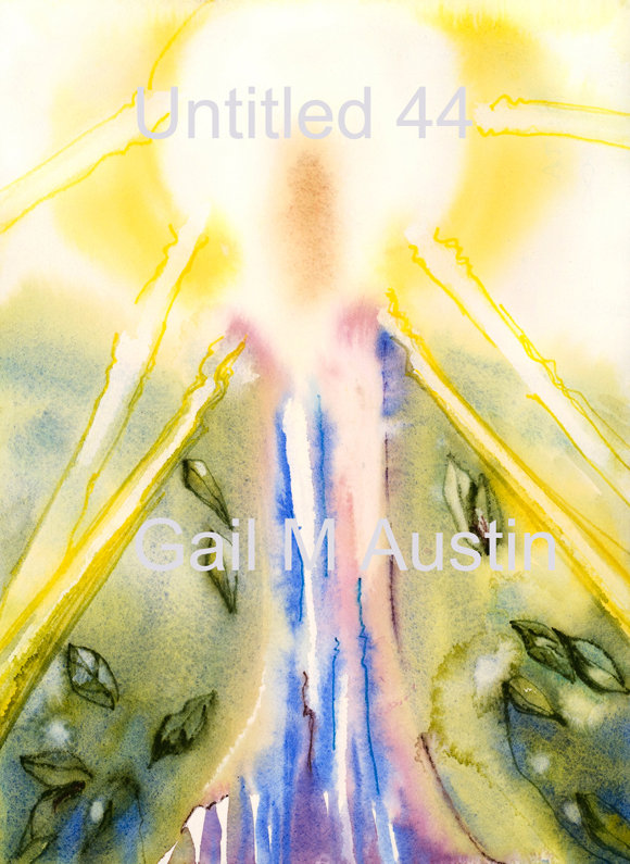 Untitled 44, Original watercolor, artist Gail M Austin, watercolor paper, watercolor by Gail M Austin, sun, ethereal, Christ consciousness, Metatron, light filled watercolor, healing, healing properties