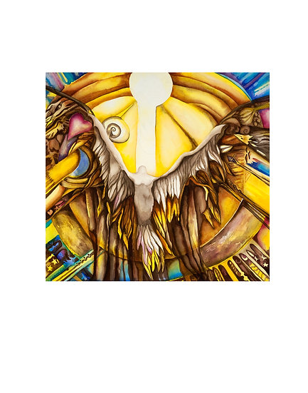 Untitled #4 original watercolor ethereal eagle phoenix painting by Gail M Austin