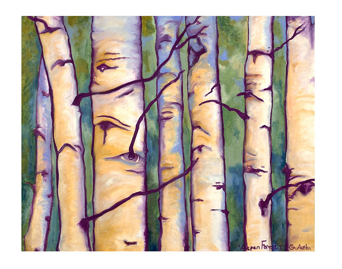 Aspen Forest 1 -original framed oil painting by Gail M Austin