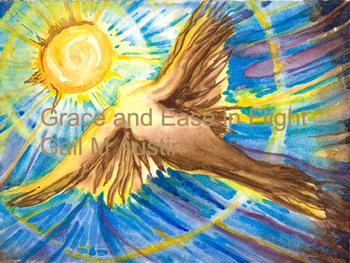 grace and ease in flight, Watercolor on paper, Gail M Austin art, spiritual art, sun alignment, bird art, ethereal art, healing art, goddess art, angel art, inspirational art, oracle cards, oracle art, divine feminine art,  unconditional love, Icarus