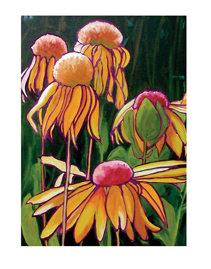 Gold wild flowers wall art oil painting by Gail M Austin