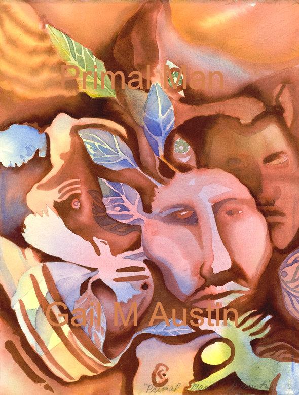 art, spiritual art, inspirational art, tribal watercolor painting, primal art, Original watercolor painting, Gail M Austin art, healing art,  oracle card, primal man, watercolour, spiritual wall art, watercolor, spiritual paintings, divine alignment art, e