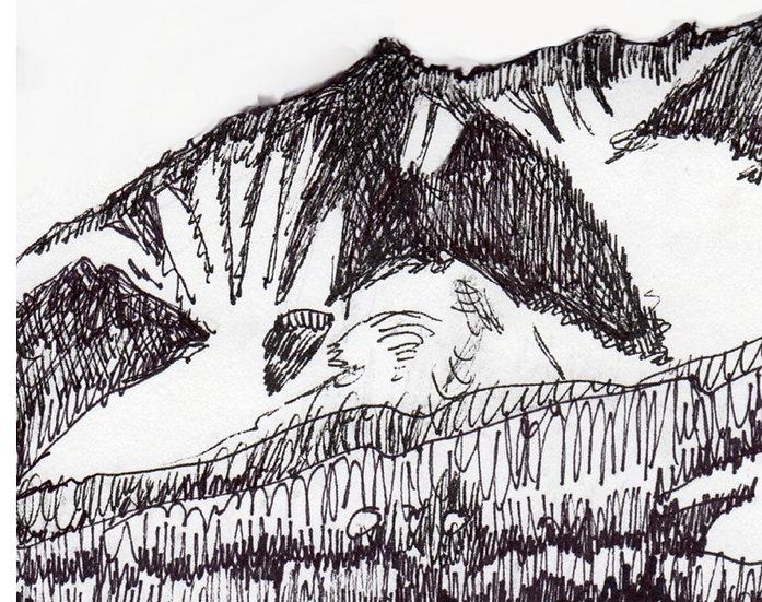 Matterhorn -black inks art drawing 6x6 mountain and lake by Gail M Austin