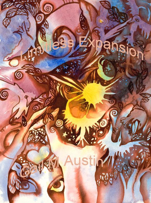 Limitless Expansion, Original watercolor, artist, Gail M Austin, watercolor paper, watercolor, Gail M Austin Art, sun art, ethereal art, light filled watercolor, healing art, healing properties, expansive art, bird art, spiral motif, esoteric art,angel art