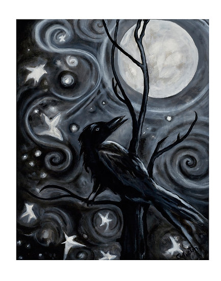 Raven in Moonlight with Stars -Framed original oil painting by Gail M Austin
