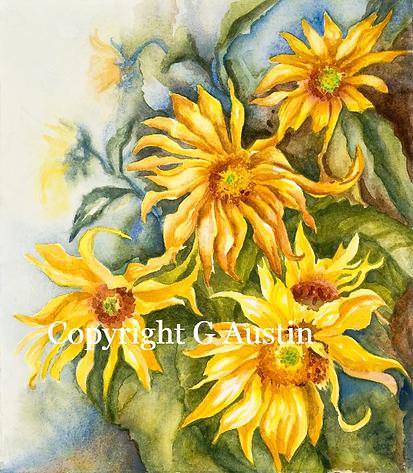 Golden Sunflowers Watercolor on handmade watercolor paper