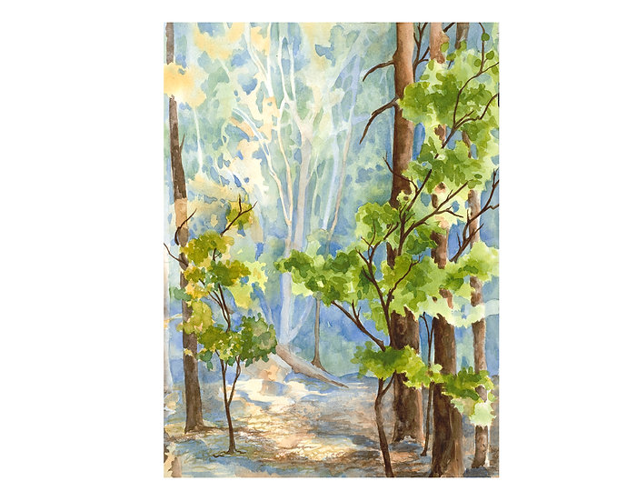 Light in the Forest -original art painting by Colorado artist Gail M Austin