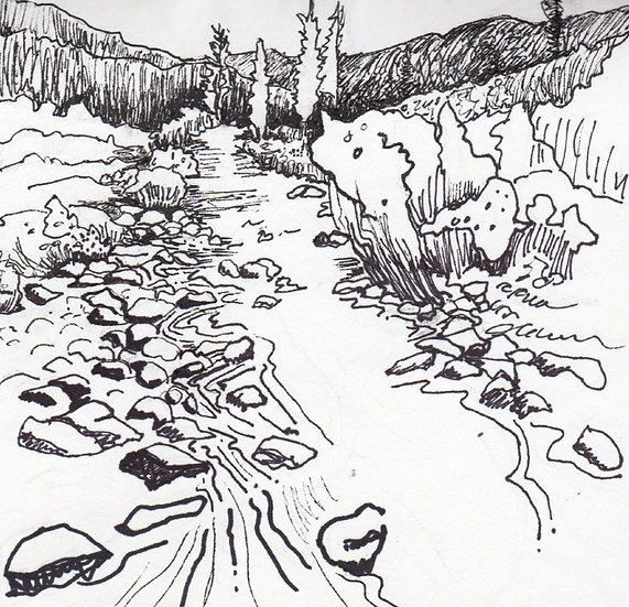 Dolores River Start -6x6 black ink drawing mountain and river by Gail M Austin