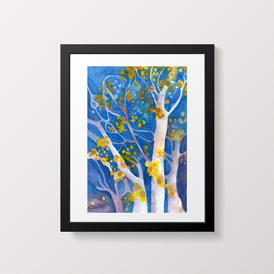 Trees watercolor painting by Gail M Austin Tree Happy 2