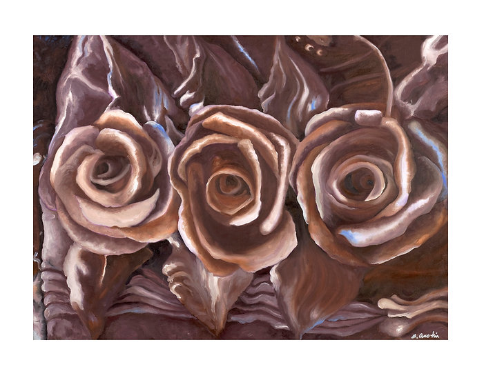 Chocolate Roses -Framed original oil painting by Gail M Austin