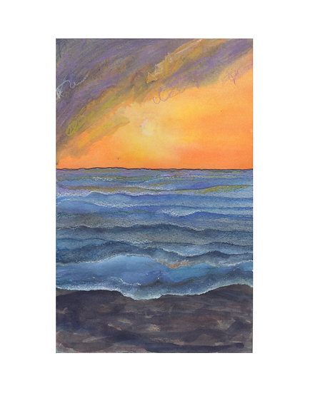 Days End in Paradise watercolor by Gail M Austin