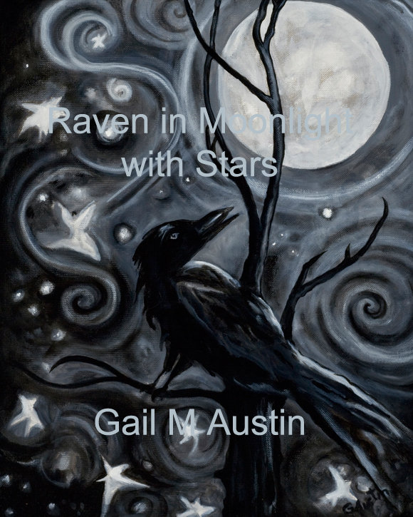Raven in Moonlight with Stars, Original oil painting, Gail M Austin, oil on canvas board, raven art, crow art, artwork, black and white art, Gail M Austin art, spiral motif, stars art, moonlight art, bird art, black raven art, black crow art, dancing stars