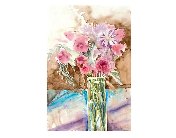 Original watercolor flowers painting by Gail M Austin