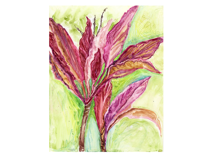 Painting original watercolor red tropical leaves by Gail M Austin