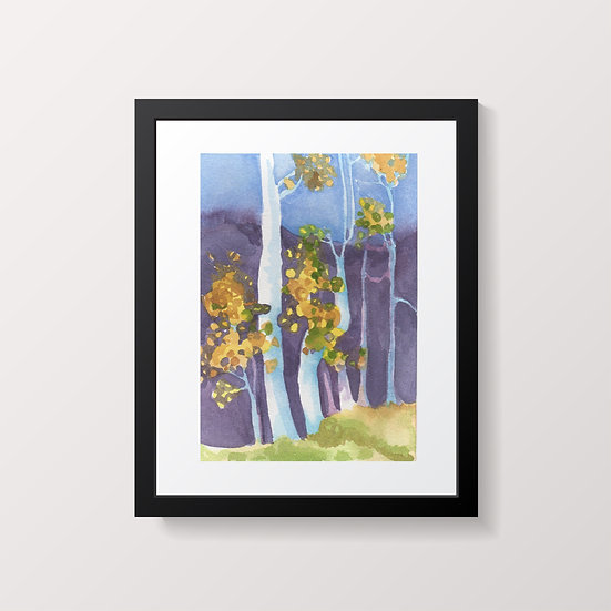 Trees watercolor painting by Gail M Austin aspen tree landscape