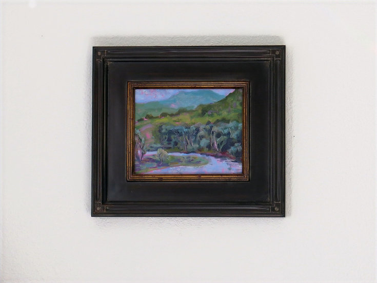 Something Wild -Framed original oil painting landscape by Gail M Austin
