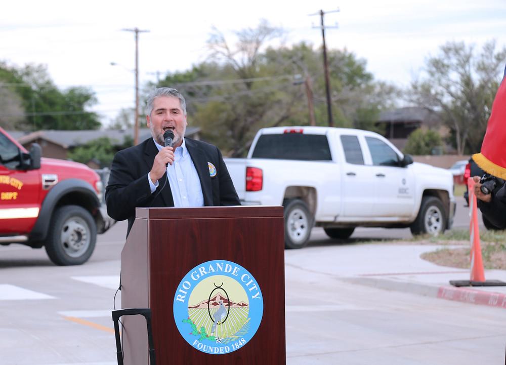 Mayor Joel Villarreal making remarks at ribbon cutting