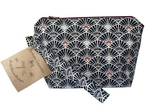 Cosmetic Bag - Medium - Art Deco Black Fans