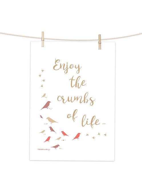 Crumbs of Life (Coral) - Tea Towel (Placement Print)