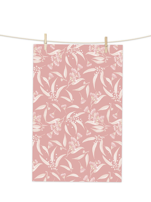Gum Blossoms - Pink on Pink Dust - Tea Towel (Repeat Pattern)