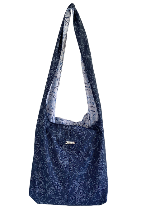 Boho Bag - Lined with Blue Flower fabric