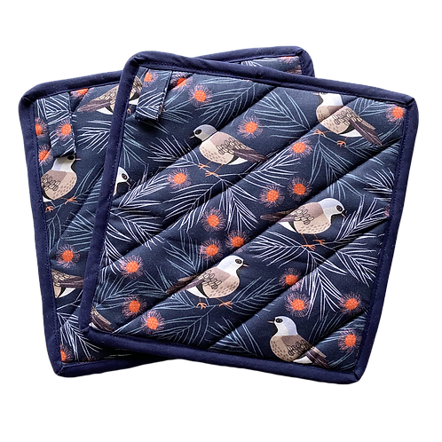 Oven Mitts (Pair) - Black Throated Finch